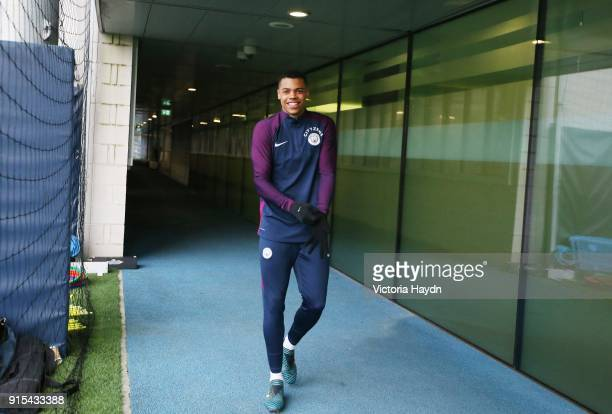 Lucas Nmecha reacts during training at Manchester City Football Academy on February 7 2018 in Manchester England