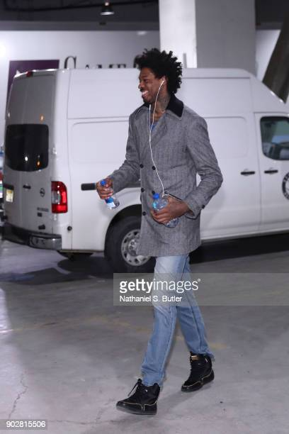 Lucas Nogueira of the Toronto Raptors arrives before game against the Brooklyn Nets on January 8 2018 at Barclays Center in Brooklyn New York NOTE TO...