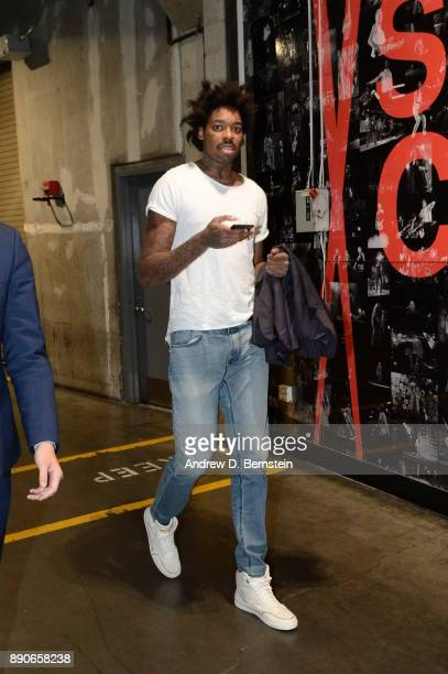 Lucas Nogueira of the Toronto Raptors arrives before the game against the LA Clippers on December 11 2017 at STAPLES Center in Los Angeles California...