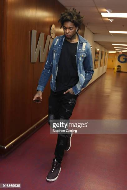 Lucas Nogueira of the Toronto Raptors arrives before the game against the Washington Wizards on February 1 2018 at Capital One Arena in Washington DC...