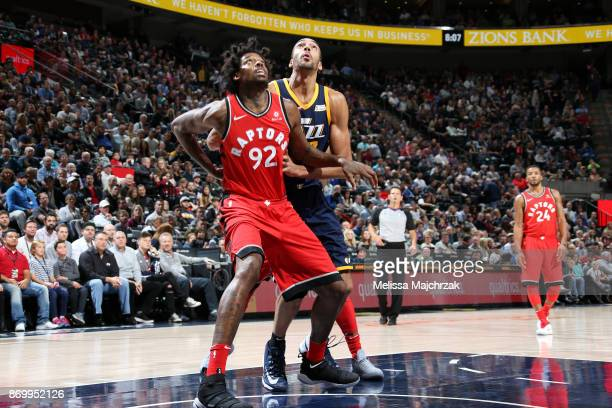 Lucas Nogueira of the Toronto Raptors boxes out against Rudy Gobert of the Utah Jazz on November 3 2017 at Vivint Smart Home Arena in Salt Lake City...