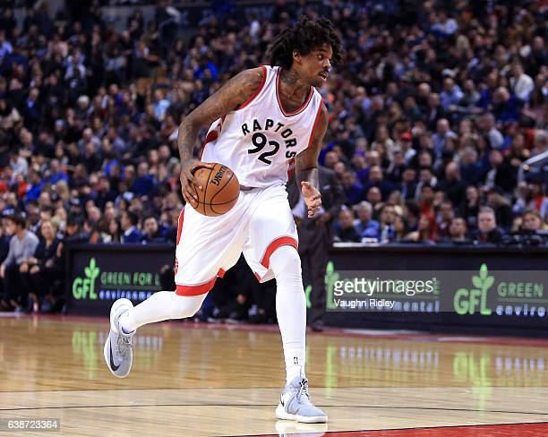 Lucas Nogueira of the Toronto Raptors dribbles the ball during the first half of an NBA game against the Brooklyn Nets at Air Canada Centre on...