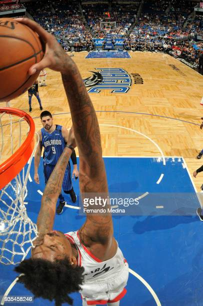 Lucas Nogueira of the Toronto Raptors dunks the ball against the Orlando Magic on March 20 2018 at Amway Center in Orlando Florida NOTE TO USER User...