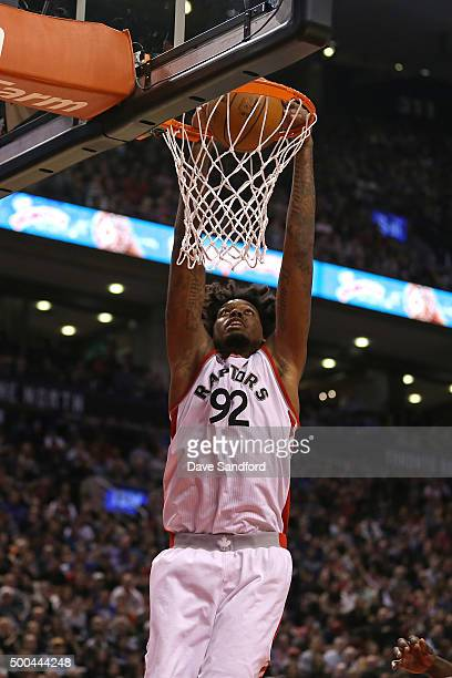 Lucas Nogueira of the Toronto Raptors dunks the ball against the Golden State Warriors on December 5 2015 at Air Canada Centre in Toronto Ontario...