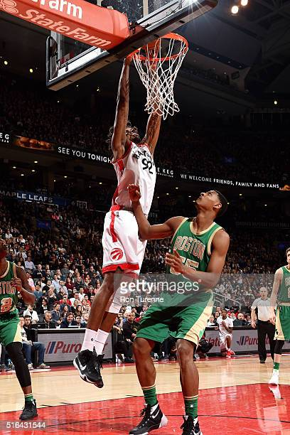 Lucas Nogueira of the Toronto Raptors goes for the dunk during the game against the Boston Celtics on March 18 2016 at the Air Canada Centre in...