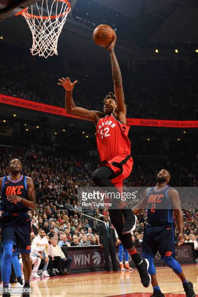 Lucas Nogueira of the Toronto Raptors goes to the basket against the Oklahoma City Thunder on March 18 2018 at the Air Canada Centre in Toronto...