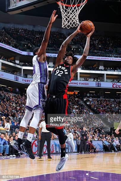 Lucas Nogueira of the Toronto Raptors goes to the basket during the game against the Sacramento Kings on November 20 2016 at Sleep Train Arena in...