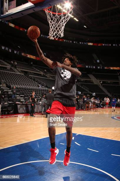 Lucas Nogueira of the Toronto Raptors handles the ball against the Detroit Pistons on April 5 2017 at The Palace of Auburn Hills in Auburn Hills...