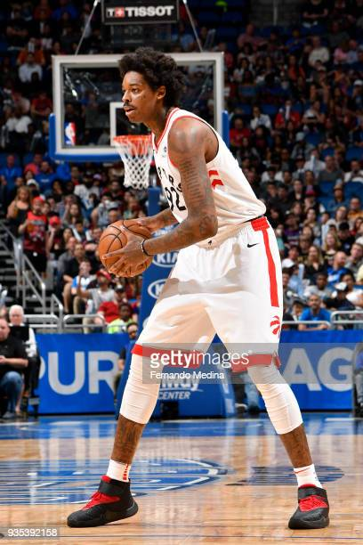 Lucas Nogueira of the Toronto Raptors handles the ball against the Orlando Magic on March 20 2018 at Amway Center in Orlando Florida NOTE TO USER...