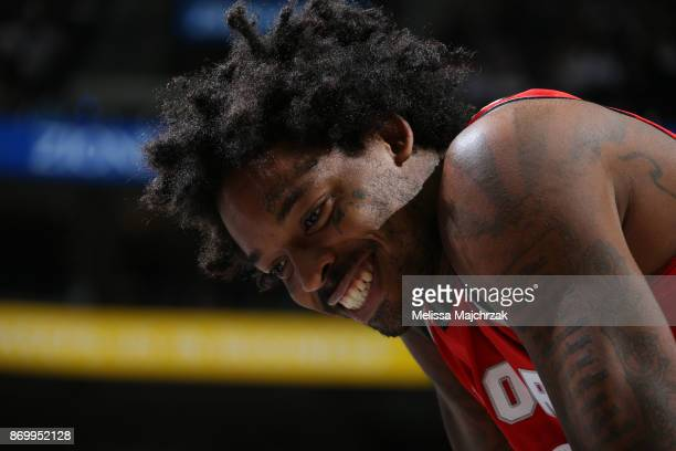 Lucas Nogueira of the Toronto Raptors looks on during the game against the Utah Jazz on November 3 2017 at Vivint Smart Home Arena in Salt Lake City...