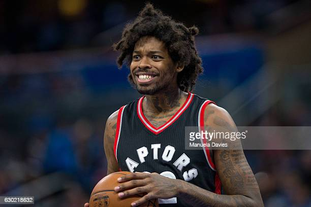 Lucas Nogueira of the Toronto Raptors reacts to a foul against the Orlando Magic at Amway Center on December 18 2016 in Orlando Florida NOTE TO USER...