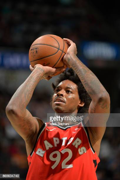 Lucas Nogueira of the Toronto Raptors shoots a free throw against the San Antonio Spurs on October 23 2017 at the ATT Center in San Antonio Texas...