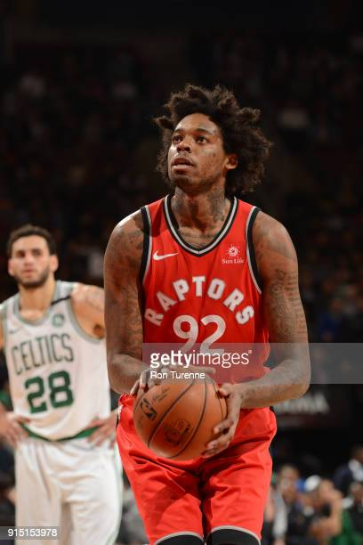 Lucas Nogueira of the Toronto Raptors shoots a free throw against the Boston Celtics on February 6 2018 at the Air Canada Centre in Toronto Ontario...
