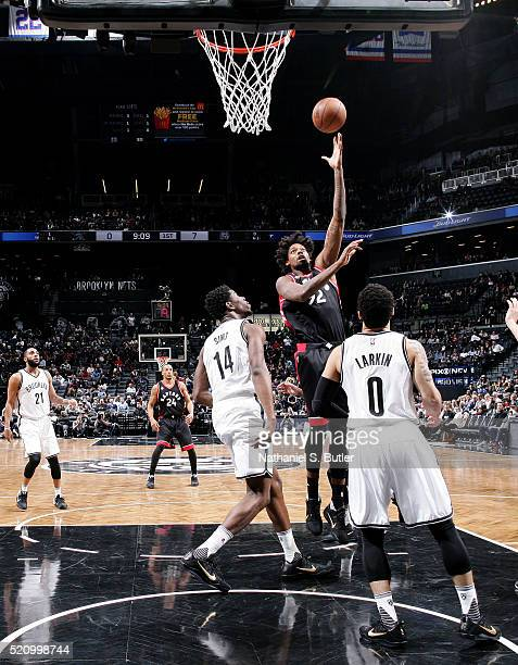 Lucas Nogueira of the Toronto Raptors shoots the ball against the Brooklyn Nets on April 13 2016 at Barclays Center in Brooklyn New York NOTE TO USER...
