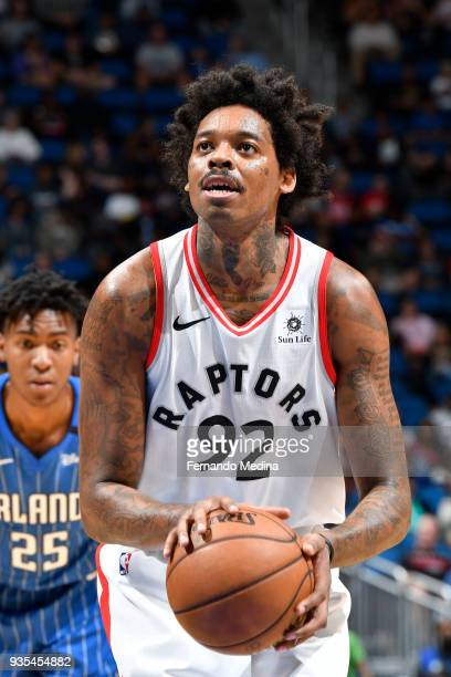 Lucas Nogueira of the Toronto Raptors shoots the ball against the Orlando Magic on March 20 2018 at Amway Center in Orlando Florida NOTE TO USER User...