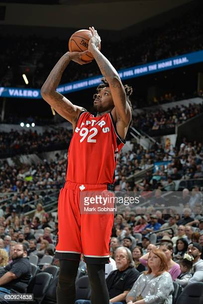Lucas Nogueira of the Toronto Raptors shoots the ball against the San Antonio Spurs on January 3 2017 at the ATT Center in San Antonio Texas NOTE TO...