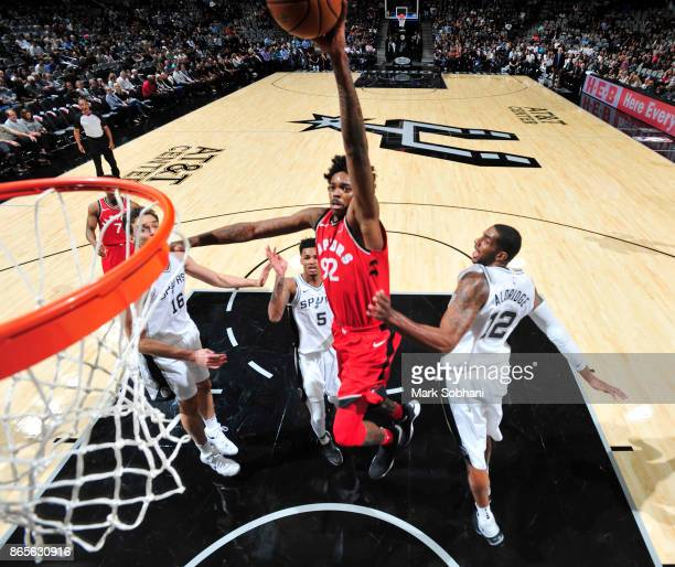 Lucas Nogueira of the Toronto Raptors shoots the ball against the San Antonio Spurs on October 23 2017 at the ATT Center in San Antonio Texas NOTE TO...