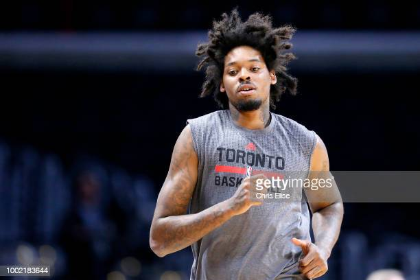 Lucas Nogueira of the Toronto Raptors warms up before the game against the LA Clippers on November 22 2015 at the STAPLES Center in Los Angeles...