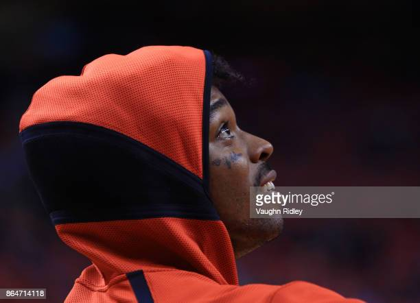 Lucas Nogueira of the Toronto Raptors warms up prior to the first half of an NBA game against the Chicago Bulls at Air Canada Centre on October 19...