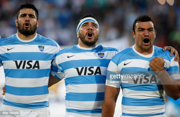 Lucas Noguera Paz Nahuel Tetaz Chaparro and Agustin Creevy of Argentina sing the national anthem prior to The Rugby Championship match between...