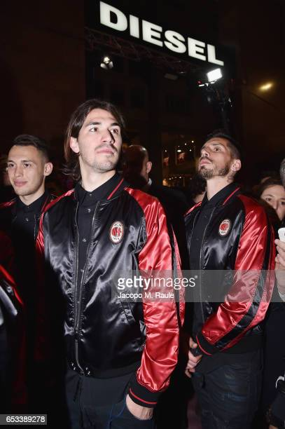 Lucas Ocampos Alessio Romagnoli and Jesus Joaquin Fernandez Saez de la Torre attend The New Bomber Presentation at the Diesel Store on March 14 2017...
