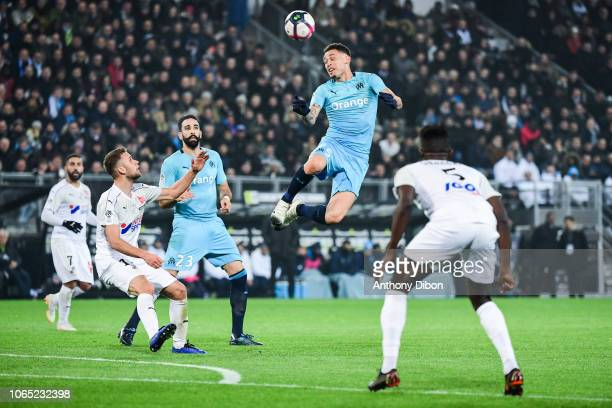 Lucas Ocampos and Adil Rami of Marseille during the Ligue 1 match between Amiens and Marseille at Stade de la Licorne on November 25 2018 in Amiens...