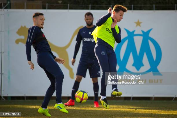 Lucas Ocampos and Florian Thauvin during a training session at Centre RobertLouis Dreyfus on February 12 2019 in Marseille France