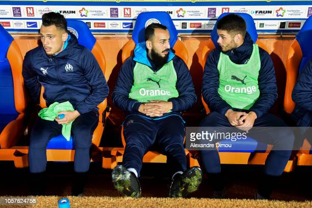 Lucas Ocampos and Kostas Mitroglou and Duja Caleta Car of Marseille during the Ligue 1 match between Montpellier and Marseille at Stade de la Mosson...