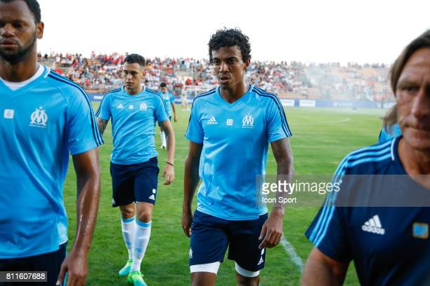 Lucas Ocampos and Luiz Gustavo of Marseille during the friendly match between Olympique de Marseille and Etoile Sportive du Sahel on July 9 2017 in...