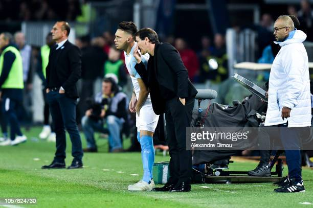 Lucas Ocampos and Rudi Garcia head coach of Marseille during the Ligue 1 match between Montpellier and Marseille at Stade de la Mosson on November 4...