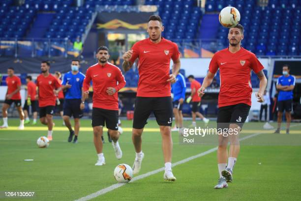 Lucas Ocampos and Sergio Escudero during a Sevilla Training Session And Press Conference at MSV Arena on August 05 2020 in Duisburg Germany