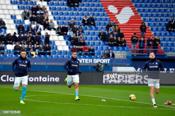 Lucas Ocampos Dimitri Payet and Florian Thauvin of Olympique de Marseille warmup before the Ligue 1 match between SM Caen and Olympique de Marseille...