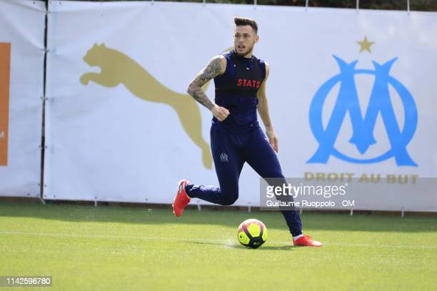 Lucas Ocampos during an Olympique de Marseille training session at Centre Robert LouisDreyfus on May 10 2019 in Marseille France