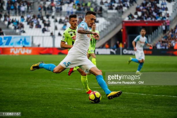 Lucas Ocampos during the Ligue 1 match between Olympique Marseille and Angers SCO at Stade Velodrome on March 30 2019 in Marseille France