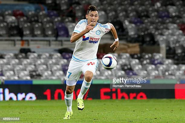 Lucas Ocampos for Olympique de Marseille during the French Ligue 1 game between Toulouse FC and Olympique de Marseille at Stadium Municipal on...