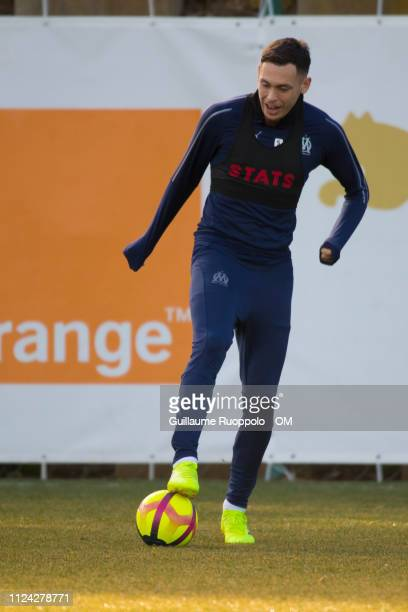 Lucas Ocampos in action during a training session at Centre RobertLouis Dreyfus on February 12 2019 in Marseille France