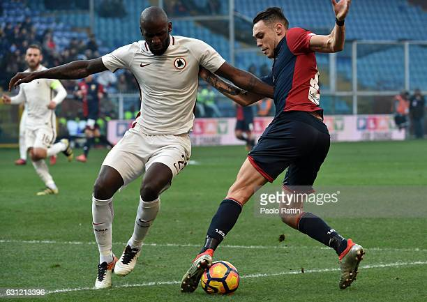 Lucas Ocampos is challenge by Antonio Rudiger during the Serie A match between Genoa CFC and AS Roma at Stadio Luigi Ferraris on January 8 2017 in...
