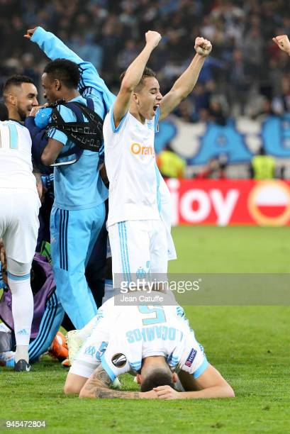 Lucas Ocampos Maxime Lopez of OM celebrate the fifth goal for Marseille during the UEFA Europa League quarter final leg two match between Olympique...