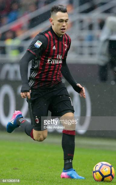 Lucas Ocampos of AC Milan in action during the Serie A match between AC Milan and UC Sampdoria at Stadio Giuseppe Meazza on February 5 2017 in Milan...