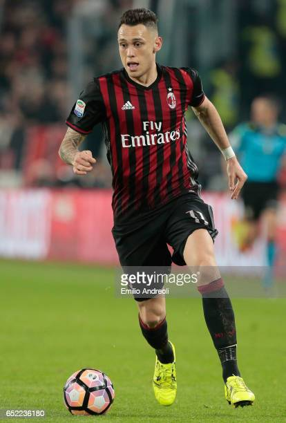 Lucas Ocampos of AC Milan in action during the Serie A match between Juventus FC and AC Milan at Juventus Stadium on March 10 2017 in Turin Italy