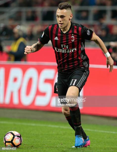 Lucas Ocampos of AC Milan in action during the Serie A match between AC Milan and Genoa CFC at Stadio Giuseppe Meazza on March 18 2017 in Milan Italy