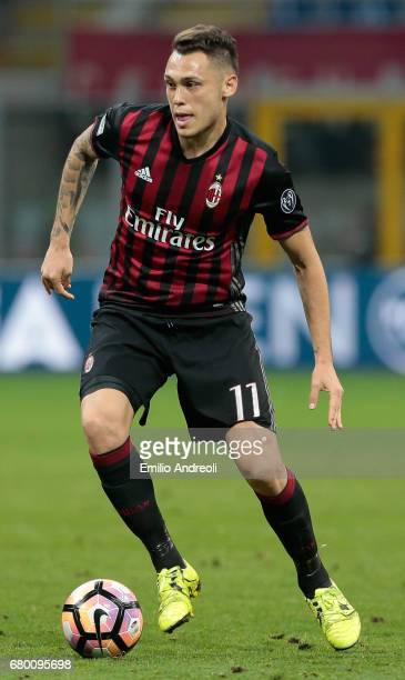 Lucas Ocampos of AC Milan in action during the Serie A match between AC Milan and AS Roma at Stadio Giuseppe Meazza on May 7 2017 in Milan Italy