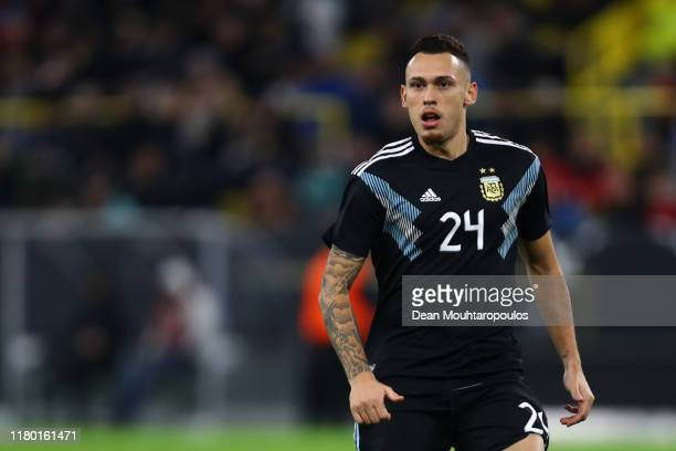 Lucas Ocampos of Argentina in action during the international friendly match between Germany and Argentina at Signal Iduna Park on October 09 2019 in...