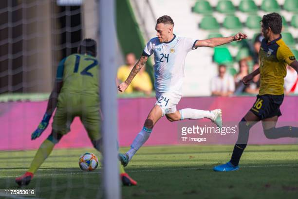Lucas Ocampos of Argentina scores his team's sixth goal during the UEFA Euro 2020 qualifier between Ecuador and Argentina on October 13, 2019 in...