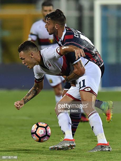Lucas Ocampos of Genoa CFC and Federico Ceccherini of FC Crotone in action during the Serie A match between FC Crotone and Genoa CFC at Adriatico...