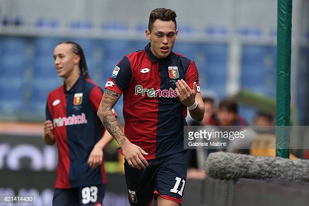 Lucas Ocampos of Genoa CFC celebrates after scoring a goal during the Serie A match between Genoa CFC and Udinese Calcio at Stadio Luigi Ferraris on...