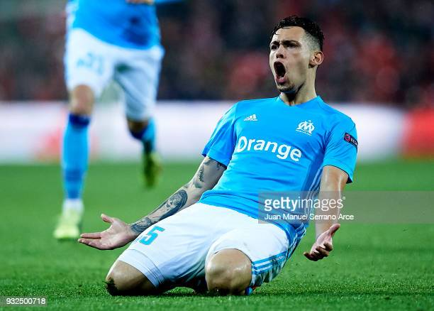 Lucas Ocampos of Marseill celebrates after scoring his team's second goal during UEFA Europa League Round of 16 match between Athletic Club Bilbao...