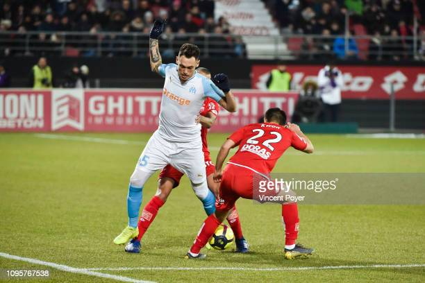 Lucas OCAMPOS of Marseille and KWON Chang Hoon of Dijon during the Ligue 1 match between Dijon and Marseille at Stade Gaston Gerard on February 8...