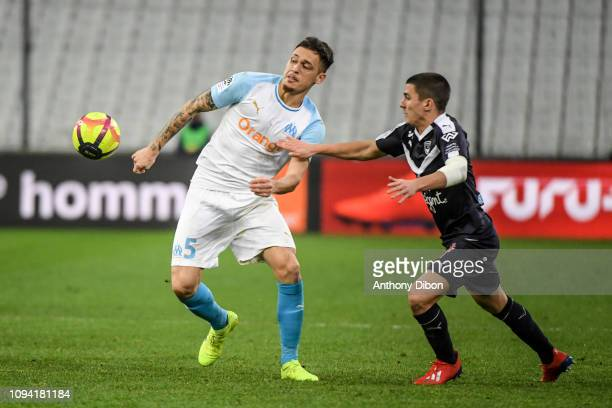 Lucas Ocampos of Marseille and Sergi Palencia of Bordeaux during the Ligue 1 match between Marseille and Bordeaux at Stade Velodrome on February 5...