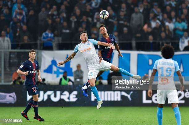 Lucas Ocampos of Marseille and Thilo Kehrer of Paris during the Ligue 1 match between Olympique Marseille and Paris Saint Germain on October 28 2018...